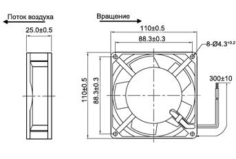 Габаритные размеры, поток воздуха, направление вращения вентилятора 110х110х25 мм