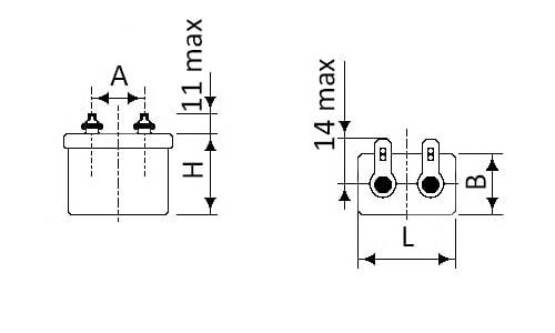 Габаритные и установочные размеры конденсаторов МБГО-1
