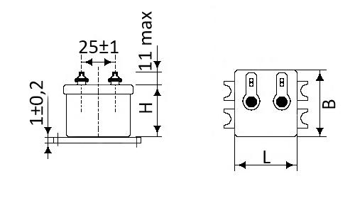 Габаритные и установочные размеры конденсаторов МБГО-2 высокой емкости