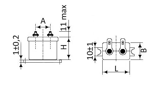 Габаритные и установочные размеры конденсаторов МБГО-2